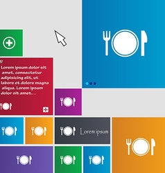 Plate icon sign buttons Modern interface website vector