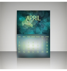 Polygonal 2016 calendar design for april month vector image