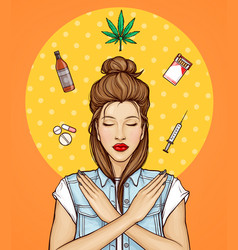 Pop art girl refuse from bad habits drugs vector