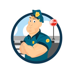portrait a strong policeman officer logo vector image