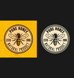 pure honey two colored styles round emblem vector image