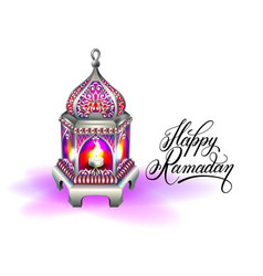Ramadan kareem greeting card with silver red vector