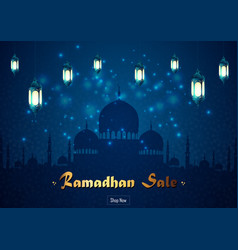 ramadan kareem sale with mosque and lantern vector image