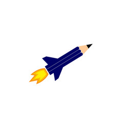 rocket pencil concept logo vector image