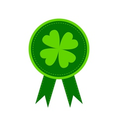 Round award with clover leaf and ribbons vector