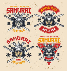 samurai set four colorful retro emblems vector image