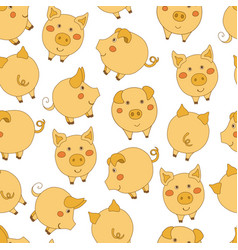 Seamless pattern with cute cartoon yellow pigs on vector