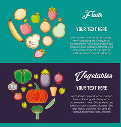 set fruits and vegetables healthy food vector image