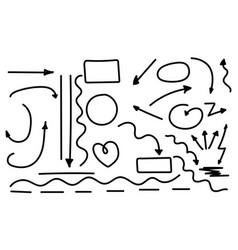 set hand drawn arrows circles and abstract vector image