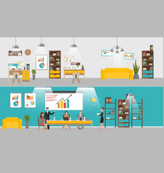 set office interior banners in flat vector image