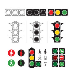 set stylized of traffic light with vector image