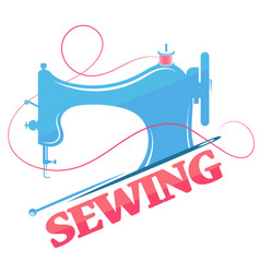 Sewing machine and thread silhouette vector