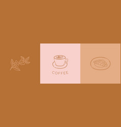 simple emblems template set - coffee branch vector image