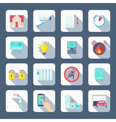 Smart House Square Icons Set vector