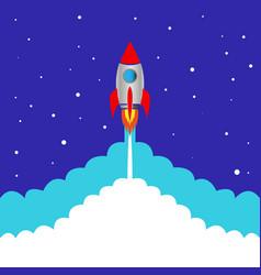 Start space rocket blue background vector