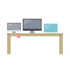 Table with Computer Devices vector image