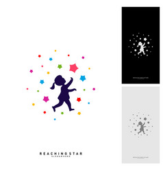 Take a star logo design template reaching stars vector