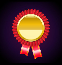 the golden badge medal with red ribbon vector image
