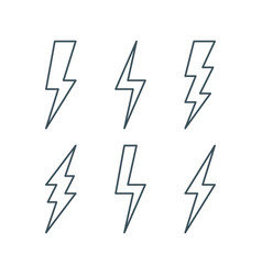 thin line lightning bolt icons set vector image