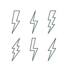 Thin line lightning bolt icons set vector
