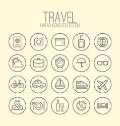 Travel Linear Icons Collection vector