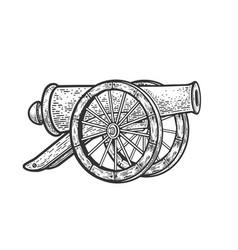 vintage cannon sketch vector image