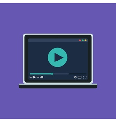 Web Template of Notebook Video Player vector