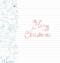 Winter doodle with element christmas card vector