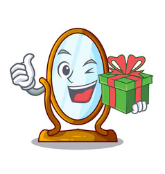 With gift cartoon big antique mirror in frame vector
