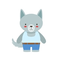 Wolf In White Sleeveless Top And Jeans Cute Toy vector