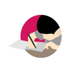 Writing scene cartoon graphic design template vector