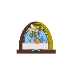 Bee Carrying Honey Pot Skep Circle Drawing vector image vector image