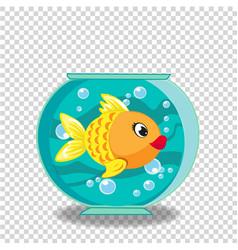 Cute cartoon goldfish in fishbowl isolated on vector