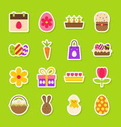 happy easter spring stickers vector image vector image