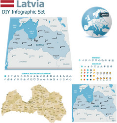 Latvia maps with markers vector image vector image