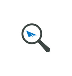 magnifying glass icon paper plane icon vector image