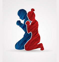 man and woman prayer graphic vector image vector image