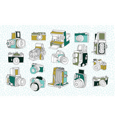 set of different photo cameras hand drawn vector image vector image