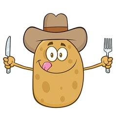 Western Potato Cartoon Holding Cutlery vector image vector image