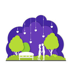 couple in night park city landscape background vector image