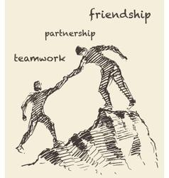 Drawn man helping teamwork partnership vector image vector image