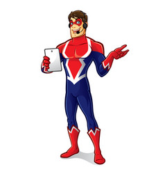 friendly superhero gadget vector image vector image