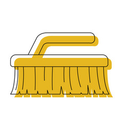 yellow watercolor silhouette of cleaning brush vector image
