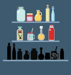 Flat set of different shape jars and bottle vector image vector image