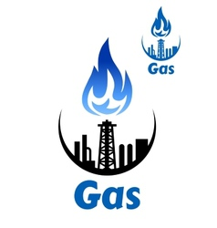 Gas processing factory icon or emblem vector image vector image