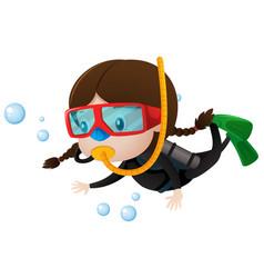 little girl scuba diving underwater vector image