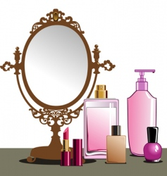 makeup and mirror vector image