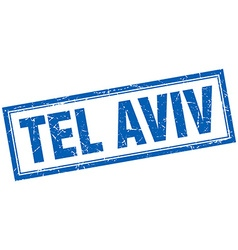 Tel aviv blue square grunge stamp on white vector