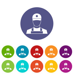 a man in a cap and uniform set icons vector image