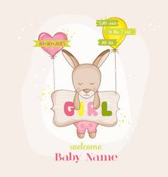 baby girl kangaroo with balloons - baby shower vector image vector image